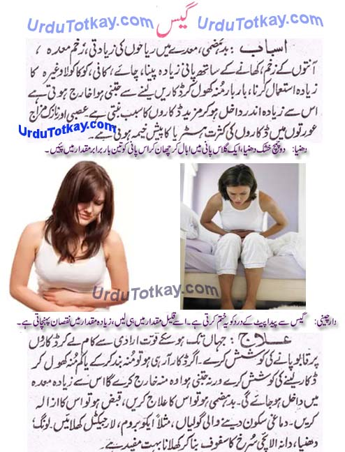 gas problem in stomach in urdu